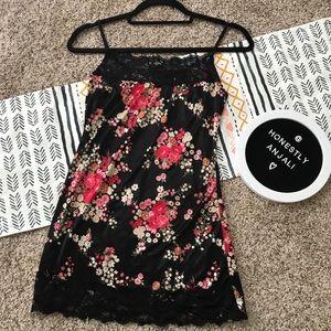 💫 VTG Silky Black Lace Trim Floral Camisole